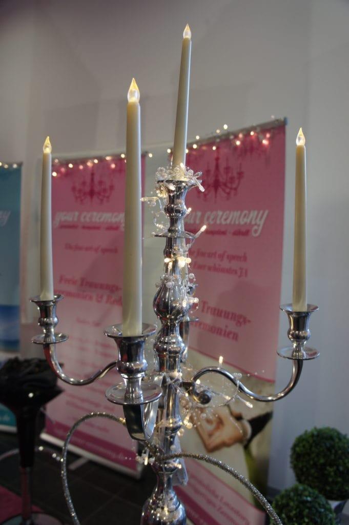 Kerzenständer - Teil unseres Auftritt bei der Hochzeitsmesse Siegen